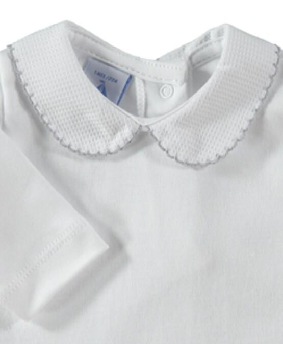 Babidu Peter Pan Collar Vest / Body – White with Grey