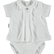 Baby Boy / Girl White Spanish Vest by Babidu Short Sleeve