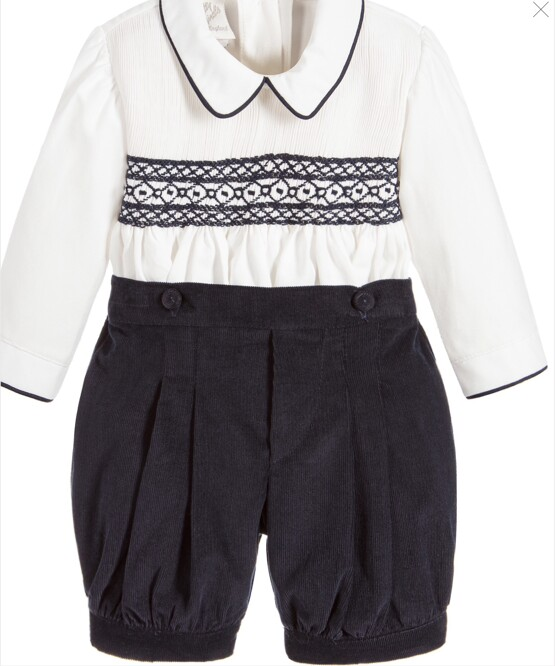 Pretty Originals Boys Smock Set - Navy - Traditional Buster Set