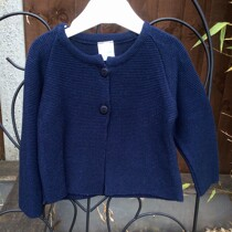Babys Two Button Cardigan in Navy