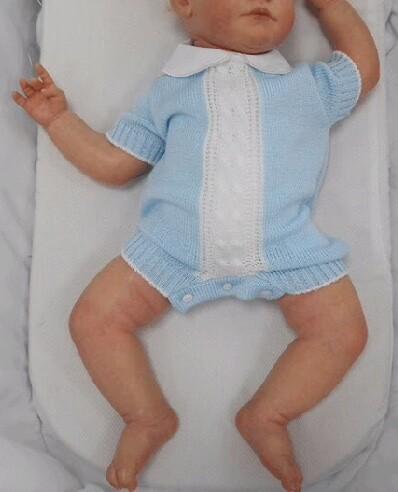 Baby Boy Blue Knit Summer Romper