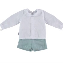 Babidu Boys White Long Sleeve Shirt and Shorts Set