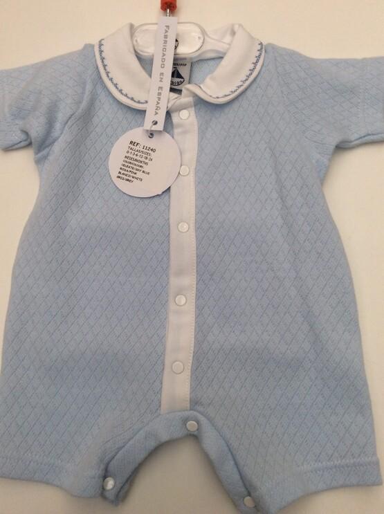 Babidu Baby Boys Blue Peter Pan Collar Short Romper