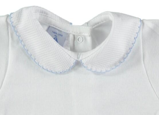 Peter Pan Pique Collar Vest / Body –  White with blue trim – by Babidu