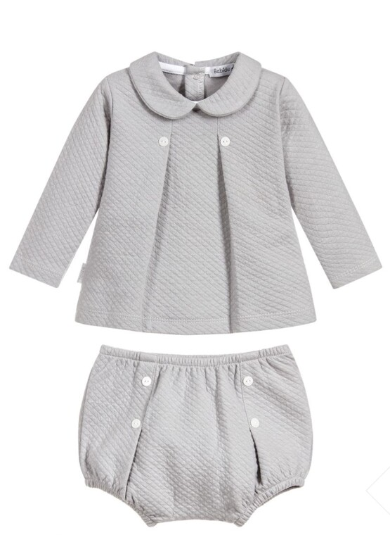 Babidu Baby 2 Piece Grey  Set – Shorts and Box Pleat Peter Pan Top