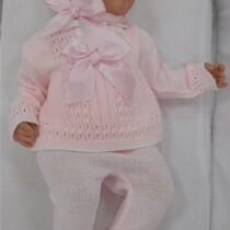 Sardon Pink Knitted Set with Bonnet