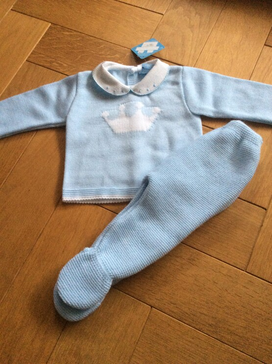 Sardon Blue 2pc  Knit Set with Crown