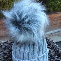 Pom Pom Faux Fur Hat – Grey