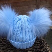 Double Pom Pom Faux Fur Hat – Blue