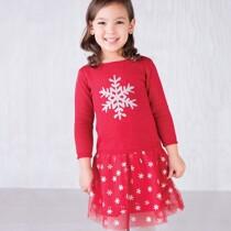 Glitter Snowflake Dropped waist Dress by Hatley