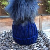 Pom Pom Faux Fur Hat – Navy