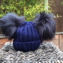 Double Pom Pom Faux Fur Hat – Navy