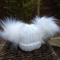Double Pom Pom Faux Fur Hat – Winter White