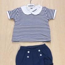 Babidu  2 Piece Navy and White striped shorts Set with Peter Pan Collar