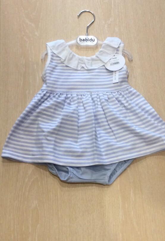 Babidu  Blue Striped Dress and pants set