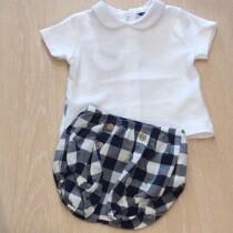 Babidu  2 Piece Navy Check shorts Set with Peter Pan Collar