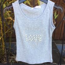 Girls Glitter & Pearls Grey Summer Vest Top