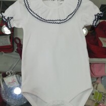 Beautiful Frill Collar Baby Vest / Body – All White Short Sleeve With Navy Trim