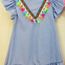 Girls Blue Striped Pom Pom Dress