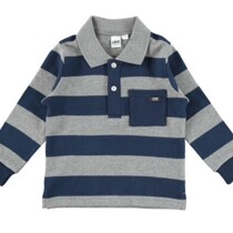 Navy & Grey Striped Long Sleeve Tee with Collar from Italian Brand Ido