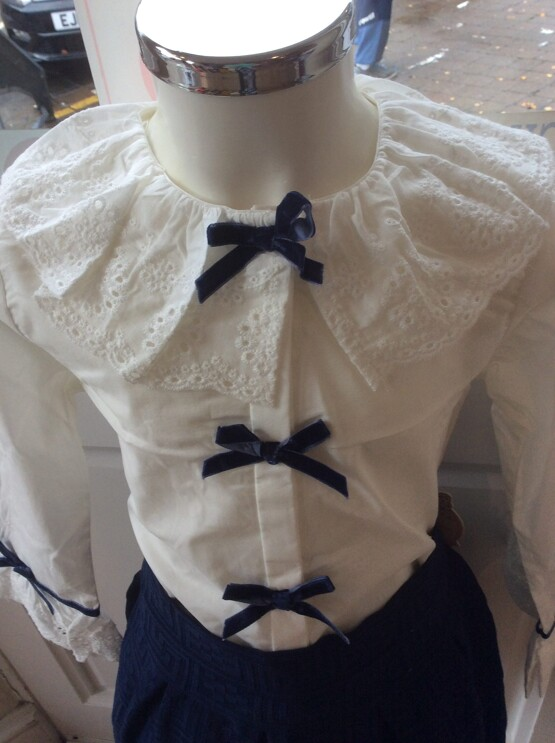 Newness Couture Winter Cream Frill Collar Blouse with Navy Detailing