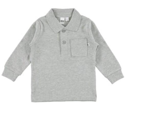 Grey Long Sleeve Tee with Collar from Italian Brand Ido