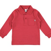 Red Long Sleeve Tee with Collar from Italian Brand Ido
