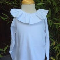 Babidu Frill Collar Long Sleeve Top – White
