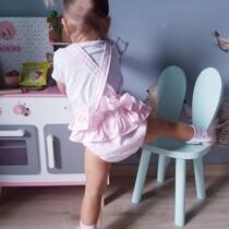 Babidu  Pink Spot Shortie Romper/Dungaree  with Ruffle Back