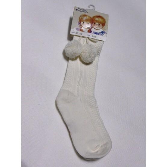 Pretty Originals Pom Pom Socks – Cream