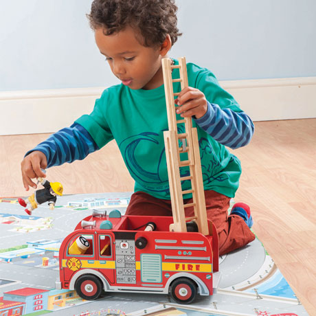 Le Toy Van Fire Engine Set with 1 Fire Fighter Budkins Figure