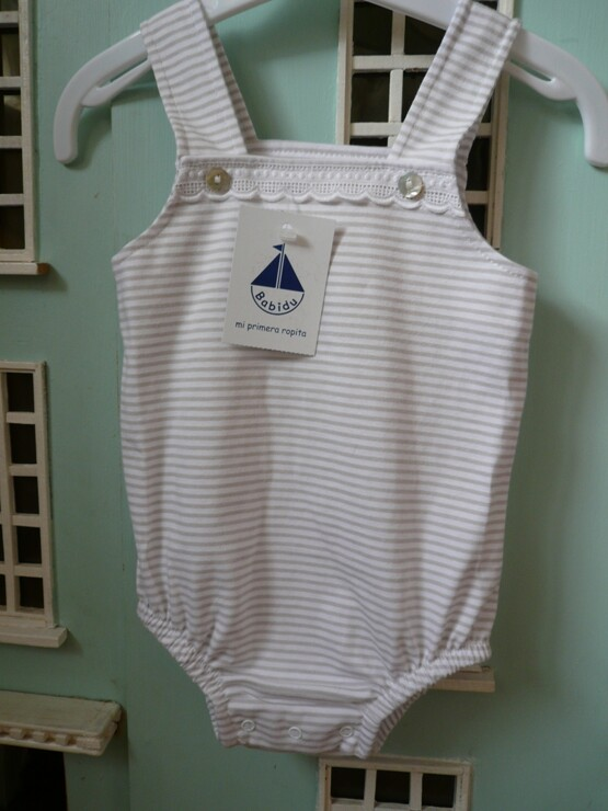 Spanish Summer Romper in a Beige/Tan and white  Striped
