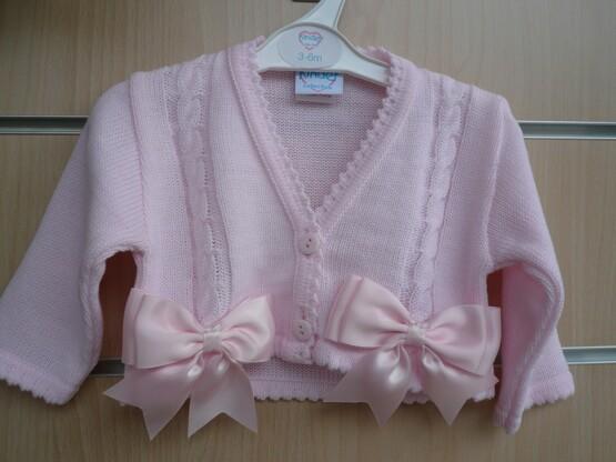 Spanish Style Balero Bow Cardigan for Baby Girl – Pink