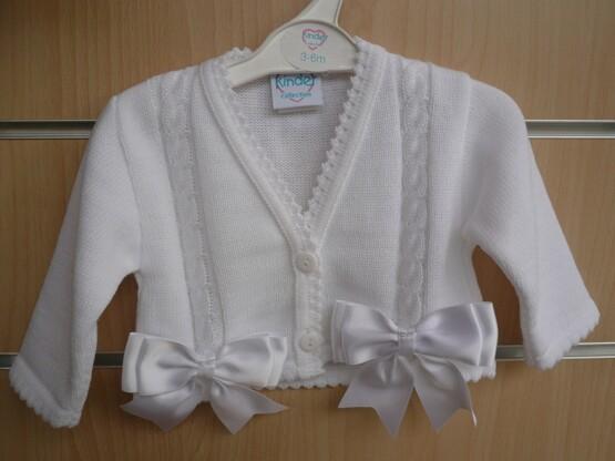 Spanish Style Balero Bow Cardigan for Baby Girl – White
