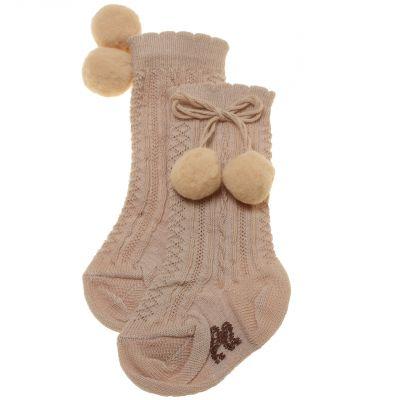 pretty originals tan pom pom socks