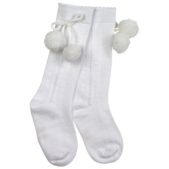 Pretty Originals Pom Pom Socks – White