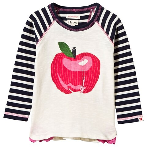 Nordic Cream Sequin Apple and Stripe Sleeve Tee by Hatley