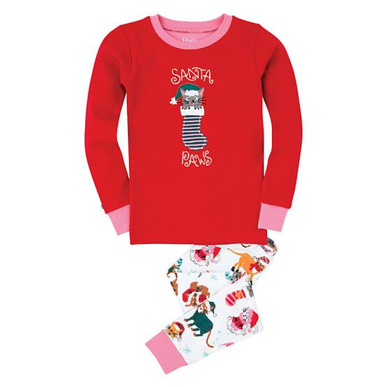 Hatley Girls' Santa Paws Pyjamas, Red by Hatley