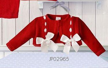 Pretty Originals Red Cotton & Ivory Ribbon Bow Cardigan
