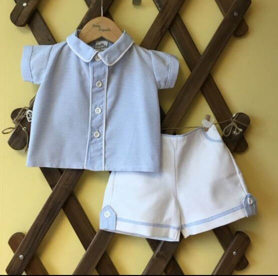 Pretty Originals Boys Blue Striped Shirt and White Shorts Set