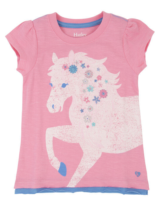 Hatley Girls Pink Horse Tee Shirt