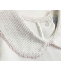 Peter Pan Pique Collar Vest / Body – White with Pink edging – by Babidu
