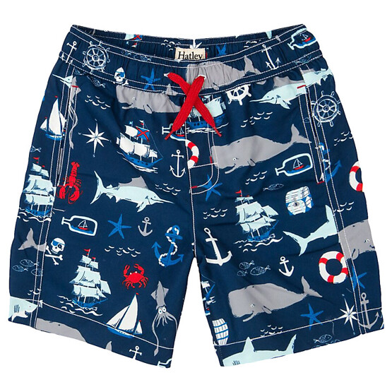 Hatley Boys' Vintage Nautical Print Swim Trunks, Navy/Multi