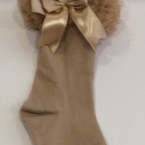 Couche Tot Girls Camel Cotton Socks with Tulle Frill