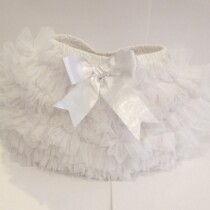 Couche Tot Baby Girl Tulle Ruffle TuTu Pants – White