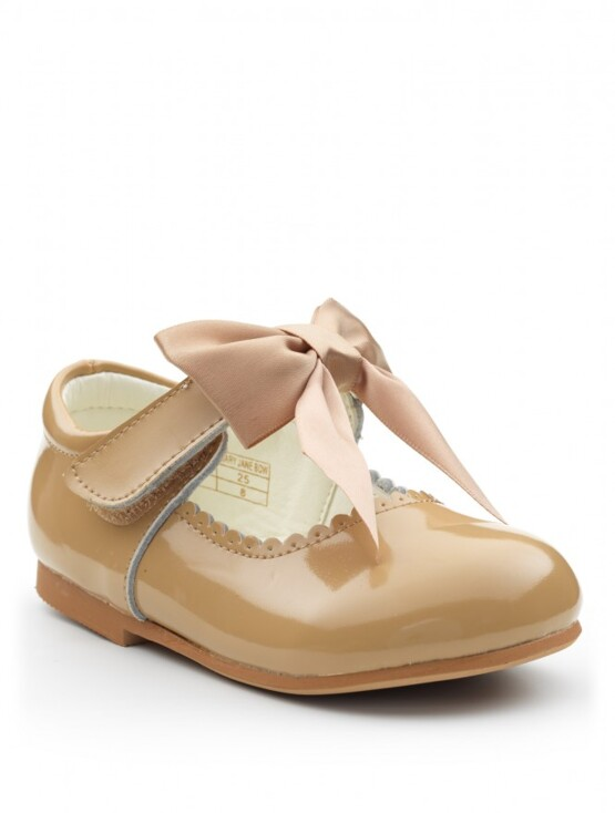 Satin Bow Mary Jane Shoe Camel Patent