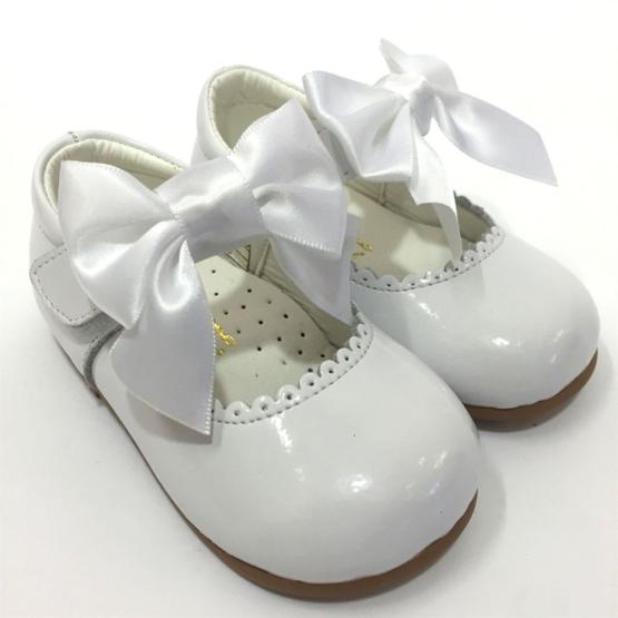 Satin Bow Mary Jane Shoe White Patent