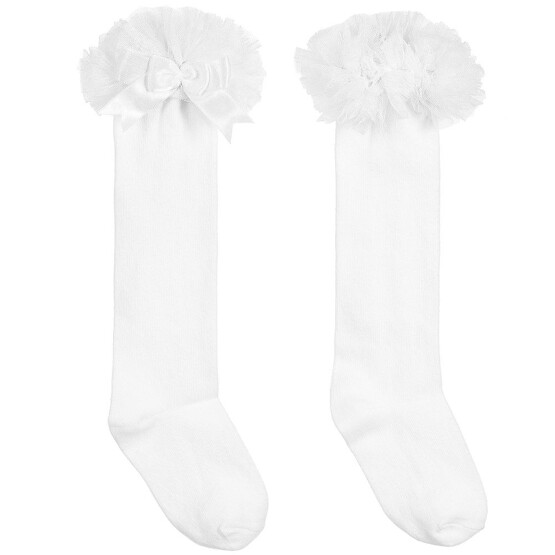 Couche Tot Girls White Cotton Socks with Tulle Frill