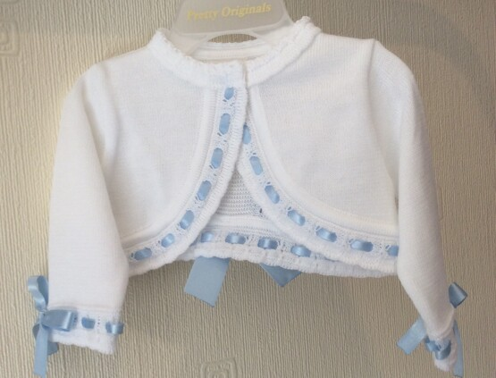 Pretty Originals white bow cardigan with Blue detailing