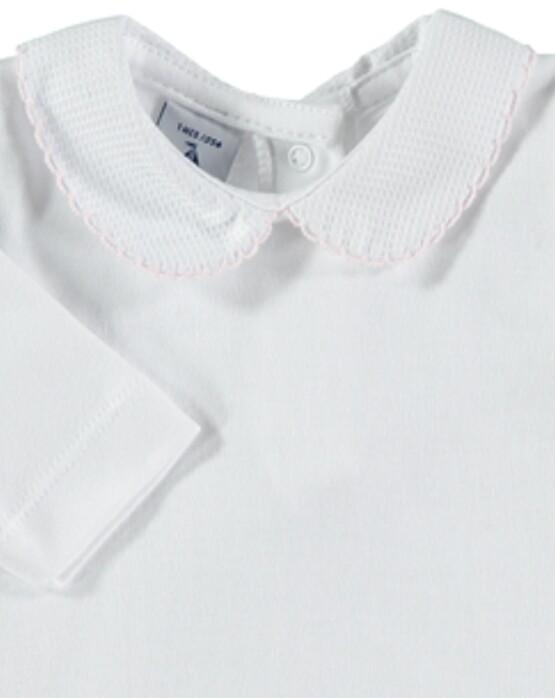 Babidu Peter Pan Collar Vest / Body – White with Pink